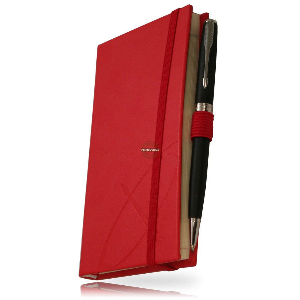 Parker Sonnet Matte Black CT Ballpoint/Red Notebook Gift Set-Pen Boutique Ltd