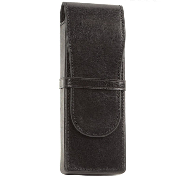 Aston Leather Black Box Style Triple Pen Case