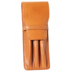 Aston Leather Tan Finger Style Triple Pen Case