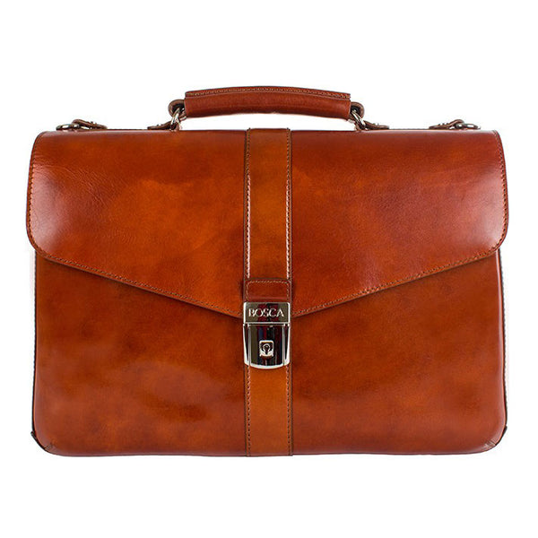 Bosca 815 Flapover Brief Old Leather - Amber