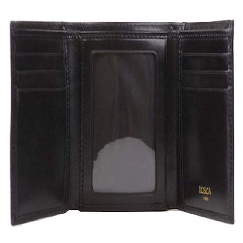 Bosca Old Leather Double I.D. Trifold Wallet - Black