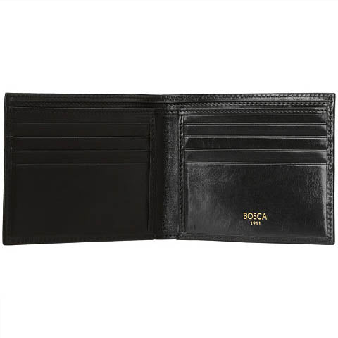 Bosca 8 Pocket Deluxe Executive Wallet Old Leather - Black