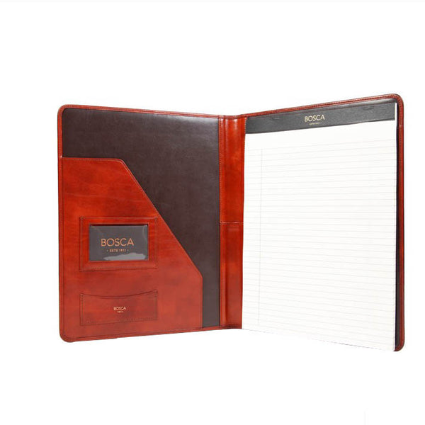 Bosca Old Leather All Leather Pad Portfolio - Cognac