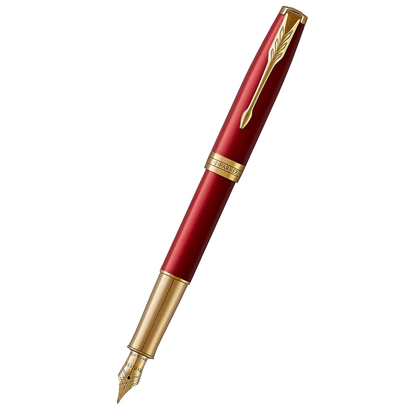 Parker Sonnet Matte Red Lacquer with Gold Trim Fountain Pen - F 18K nib