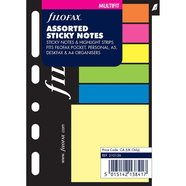 Filofax Assorted Sticky Notes - Pocket, Personal, A5, Deskfax, A4