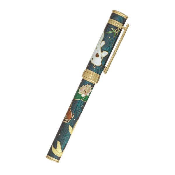 David Oscarson Koi Hard Enamel Translucent Teal Fountain Pen