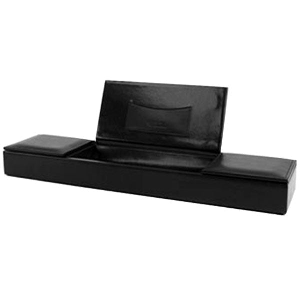 Bosca 3 Compartment Desk Organizer in Black - Nappa Vitello