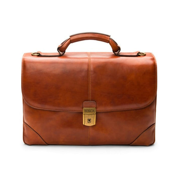 Bosca Old Leather Dolce Amber Flapover Brief