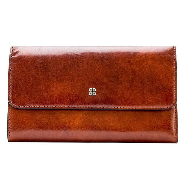 Bosca Old Leather Amber Large Checkbook Clutch