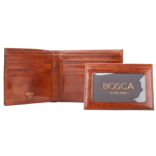 Bosca Old Leather Amber Credit Wallet with ID Passcase
