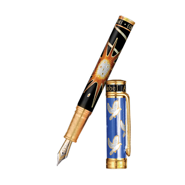 David Oscarson Alfred Bernhard Nobel Fountain Pen - Blue Gold w/ Black Barrel-Pen Boutique Ltd