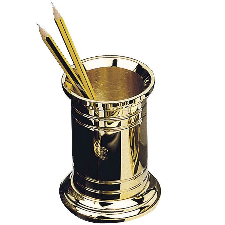 El Casco Pencil Pot 23Kt Gold Plated-Pen Boutique Ltd
