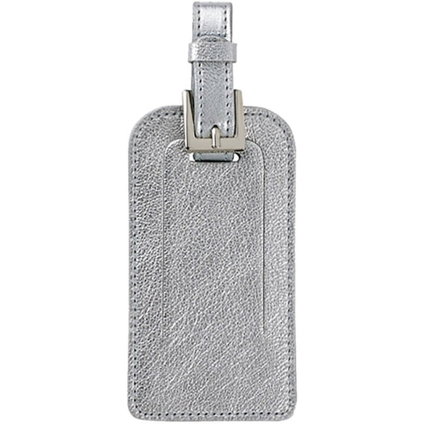 Graphic Image Goatskin Leather Luggage Tag - Metallic Silver