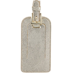 Graphic Image Goatskin Leather Luggage Tag - Metallic White Gold