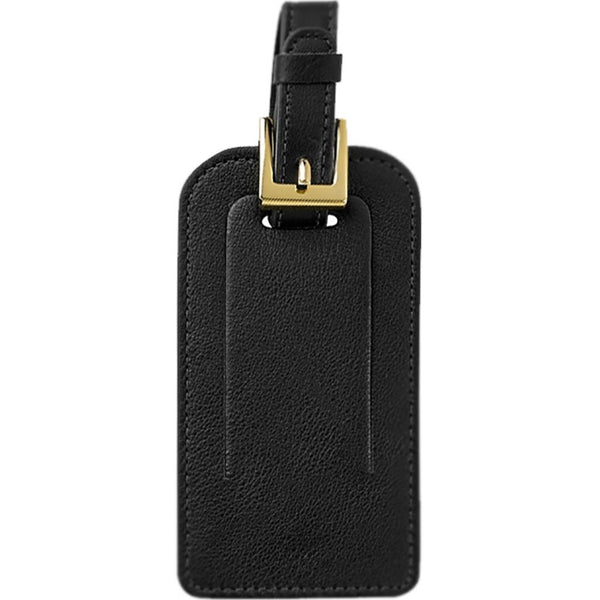 Graphic Image Traditional Leather Luggage Tag - Black