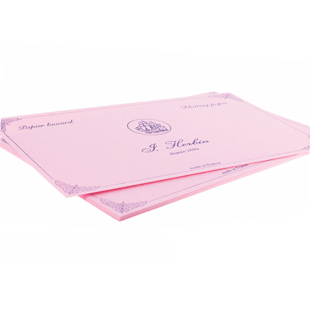 "J. Herbin 10 Blotting Paper Pad Refill - Pink color 4 3/4x6 1/3""""-Pen Boutique Ltd"