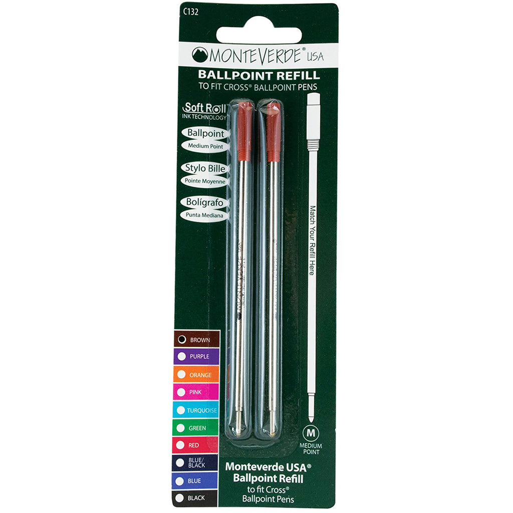 Monteverde Ballpoint refill to fit Cross pen - Brown Medium 2 per pack-Pen Boutique Ltd