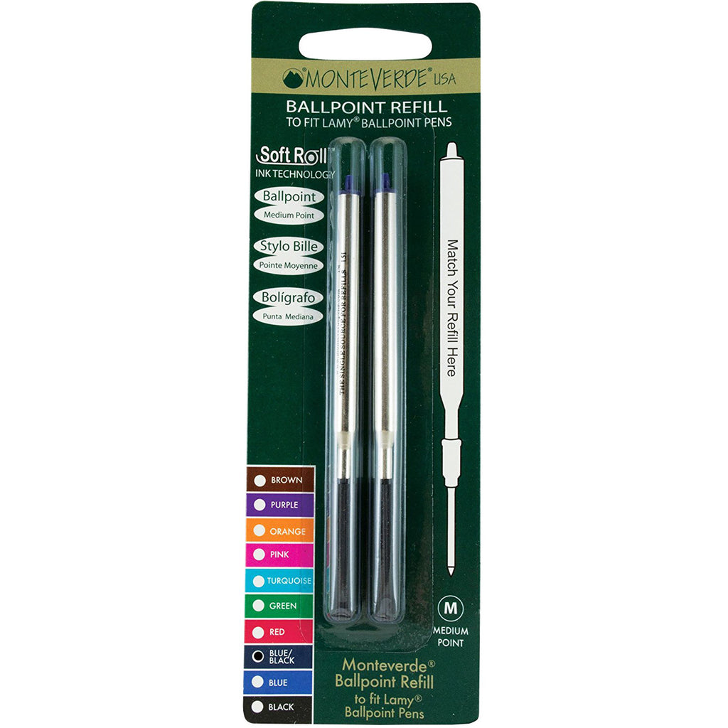 Monteverde Ballpoint refill to fit Lamy pen - Blue/Black Medium 2 per pack-Pen Boutique Ltd