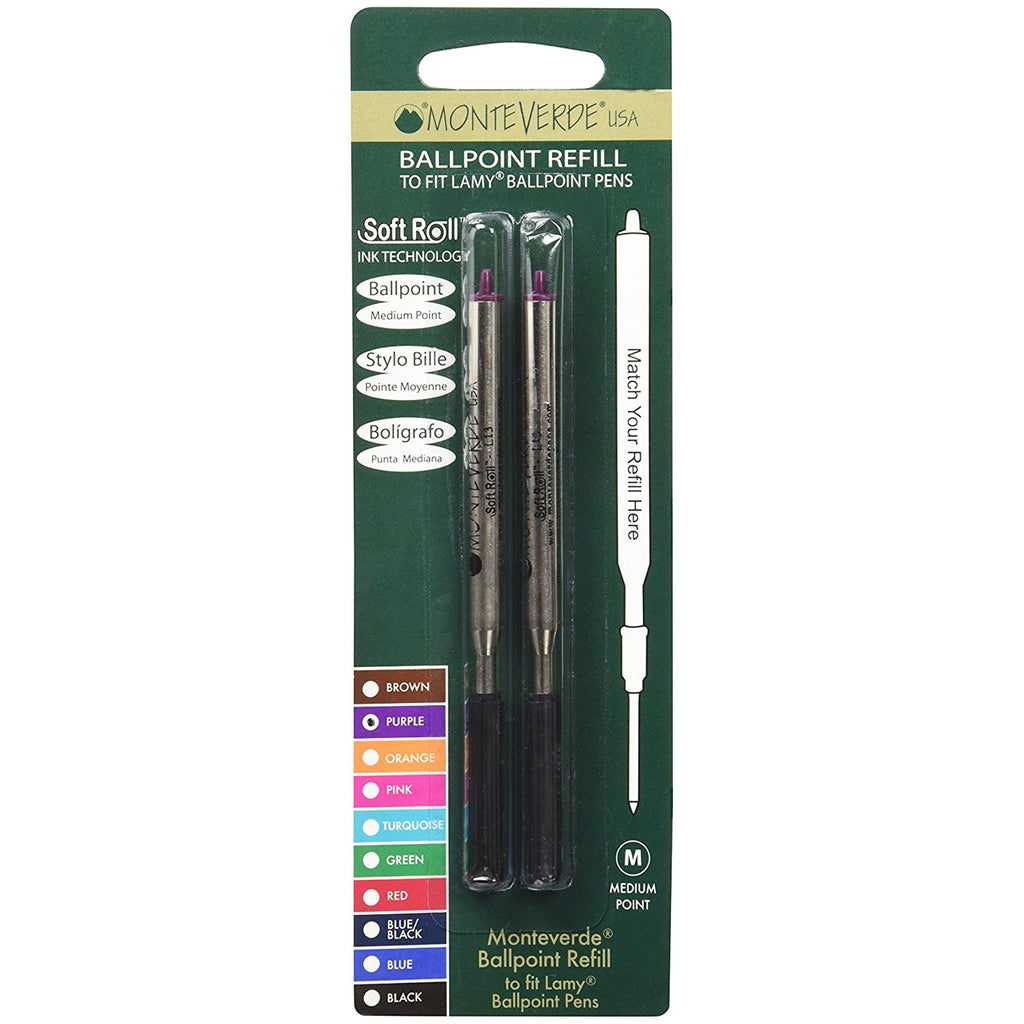 Monteverde Ballpoint refill to fit Lamy pen - Purple Medium 2 per pack-Pen Boutique Ltd