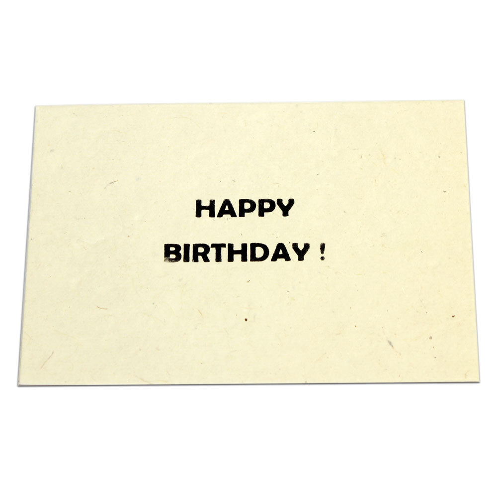 Monk Paper Happy Birthday Card with Natural Envelope - Black Letter-Pen Boutique Ltd