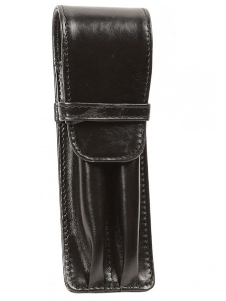 Aston Leather Black Finger Style Double Pen Case