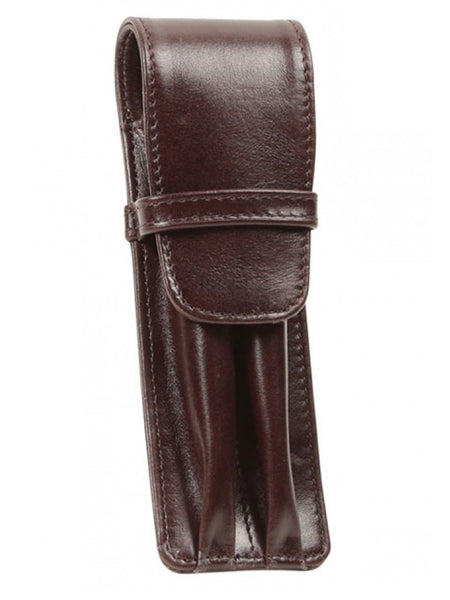 Aston Leather Brown Finger Style Double Pen Case-Pen Boutique Ltd