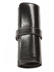 Aston Leather 5 Pen Roll Up Case - Black