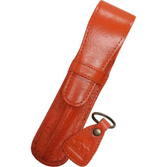 Yak Leather Single Case with Flap - Tangerine-Pen Boutique Ltd