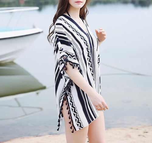 Striped Geometric Tassel Beach Blouse