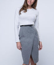 Load image into Gallery viewer, Elegant OL Crew Neck Split Belt Color Block Bodycon Work Dress