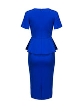 Load image into Gallery viewer, Peplum Cascading Ruffles Plain Round Neck Slit Bodycon Dress