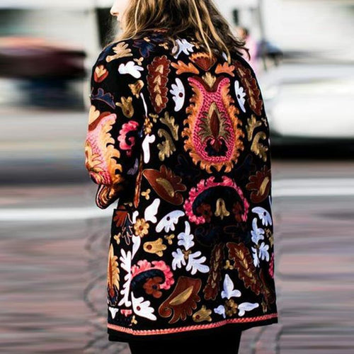 Autumn And Winter Fashion Ethnic Printing Warm Coat