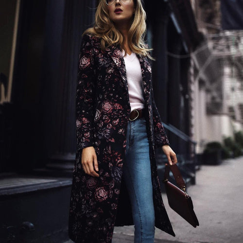 Fashion Elegant Slim Floral Long Sleeve Coat