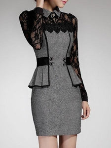 Lace Patchwork Charming Lapel Bodycon Work Dress