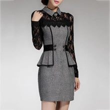 Load image into Gallery viewer, Lace Patchwork Charming Lapel Bodycon Work Dress