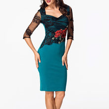 Load image into Gallery viewer, Sweet Heart Patchwork Hollow Out Split Bodycon Dress