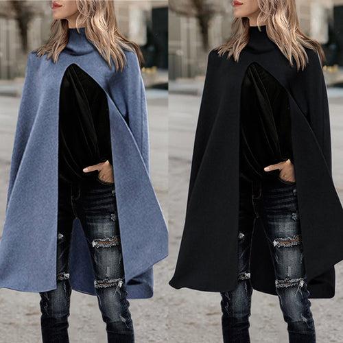 Hooded Woolen Coat Cloak Windbreaker Overcoat