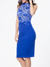 Load image into Gallery viewer, Band Collar Decorative Lace Patchwork Bodycon Dress