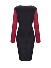 Load image into Gallery viewer, Cowl Neck Color Block Long Sleeve Bodycon Dress