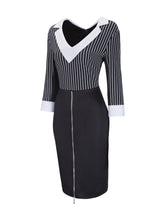 Load image into Gallery viewer, V Neck Striped Patchwork Zip Bodycon Dress