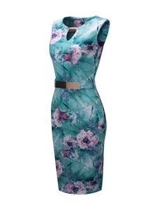 Round Neck Keyhole Decorative Hardware Floral Bodycon Dress