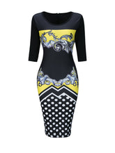 Load image into Gallery viewer, Round Neck  Slit  Polka Dot Printed Bodycon Dresses