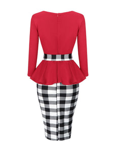 Round Neck Graceful Peplum Color Block Plaid Bodycon Dress