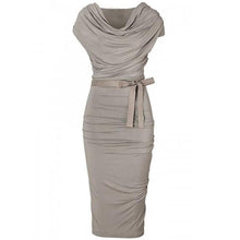 Load image into Gallery viewer, Designed Pleated Cowl Neck Bowknot Plain Bodycon Dress
