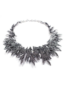 Metal Floral Bib Statement Necklace