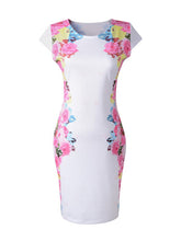Load image into Gallery viewer, Chic Round Neck Floral Bodycon Dress