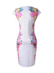 Chic Round Neck Floral Bodycon Dress