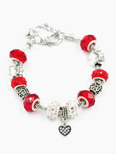 Load image into Gallery viewer, Silver Plated Crystal Heart Pendant Bracelets