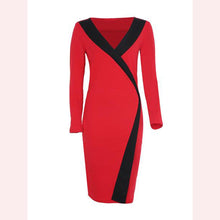 Load image into Gallery viewer, Celebrity Color Block Deep V-Neck Bodycon Dress
