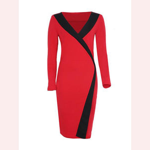 Celebrity Color Block Deep V-Neck Bodycon Dress